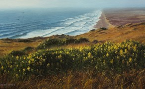 LAST LIGHT AT PT. REYES, 12×24  (available at Greenhouse Gallery, San Antonio, TX)