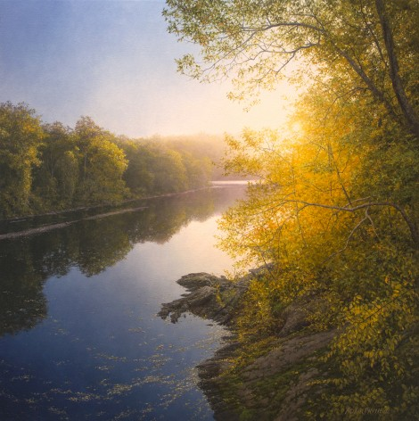 SUNRISE AT TOWN BRIDGE, 28×28 (available at Sugarman-Peterson Gallery, Santa Fe)