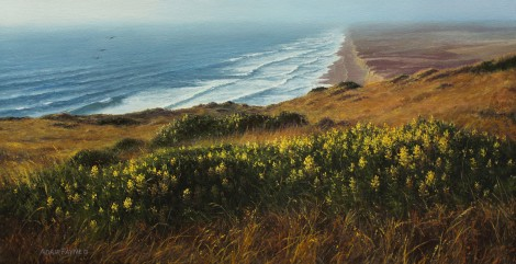 LAST LIGHT AT PT. REYES, 12×24 (available at Sugarman-Peterson Gallery, Santa Fe)